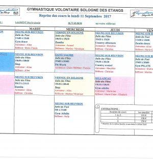 Reprises des cours avec la Gymnastique Volontaire Sologne des Etangs le 11 septembre