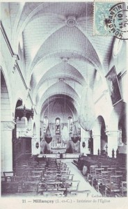 carte postale ancienne - 5 intérieur de l'église