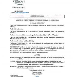 Fermeture des écoles de Millançay par arrêté municipal le vendredi 3 juin