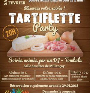 Soirée Tartiflette Party de l'Amicale des Ecoles le 10/02/2018 à la salle des fêtes