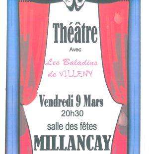 Soirée théatre à Millançay ce vendredi 9/03