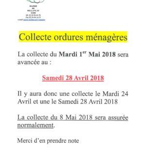 Collecte des ordures ménagères 1er mai 2018