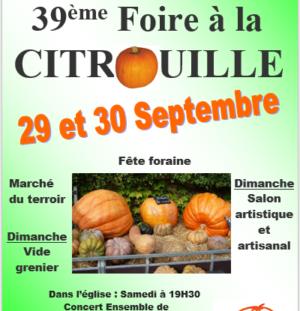 Foire à la Citrouille 2018 29 et 30 septembre 2018
