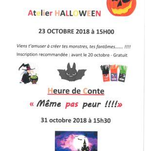 Atelier Halloween à la bibliothèque mardi 23 octobre 2018