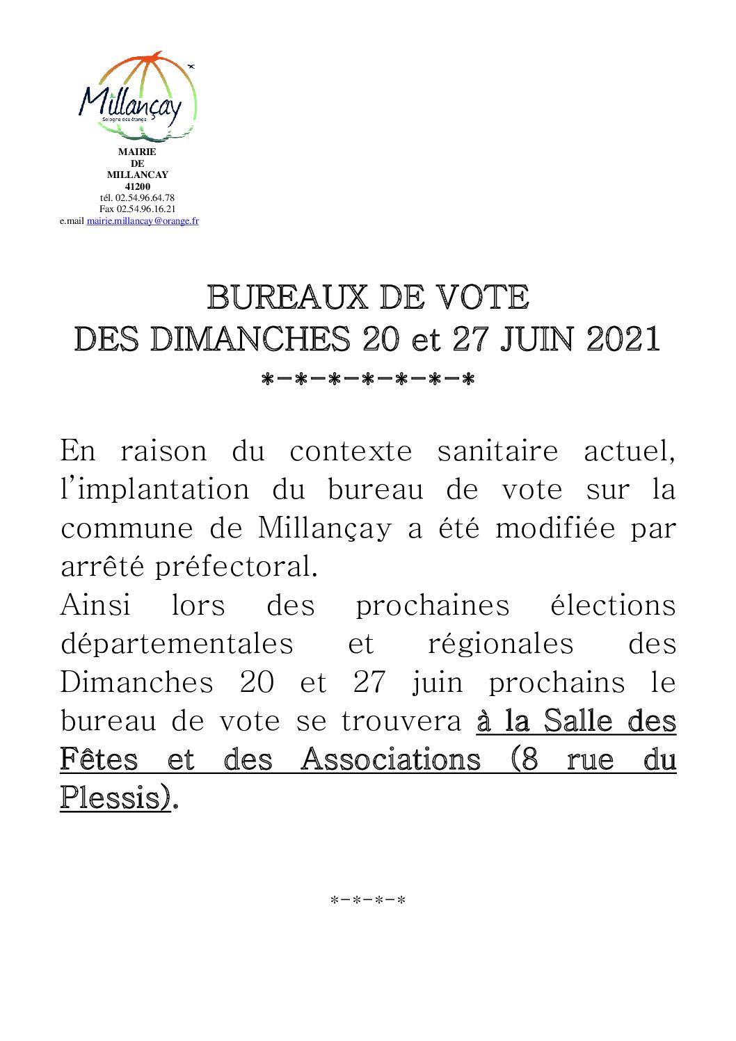 Elections des 20 et 27 juin 2021