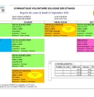 Gymnastique volontaire sologne des étangs – reprise des cours le 13/09/2021